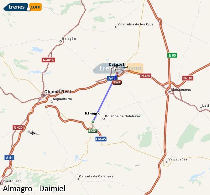 Ingrandisci la mappa Treni Almagro Daimiel