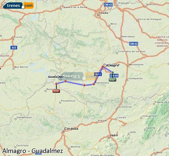 Ingrandisci la mappa Treni Almagro Guadalmez