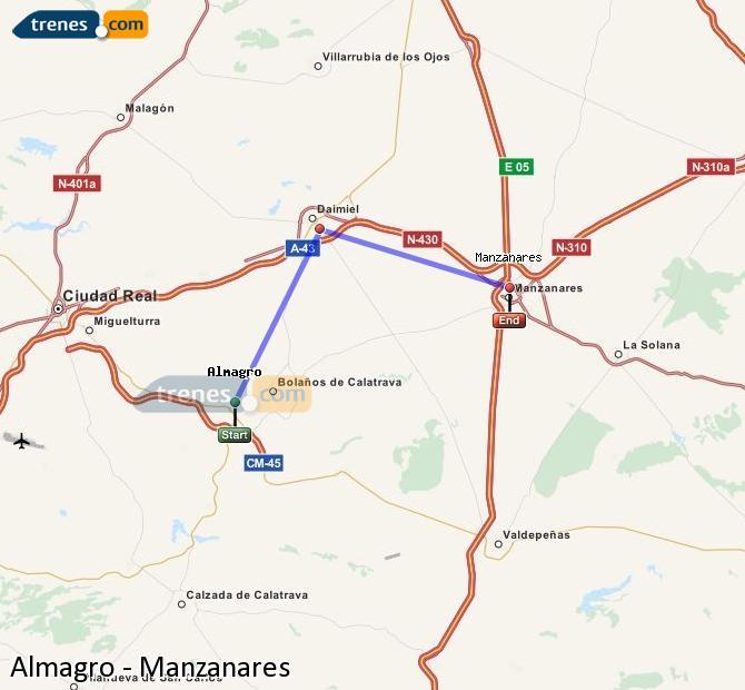 Ampliar mapa Comboios Almagro Manzanares