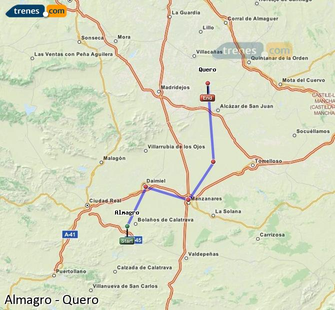 Enlarge map Trains Almagro to Quero