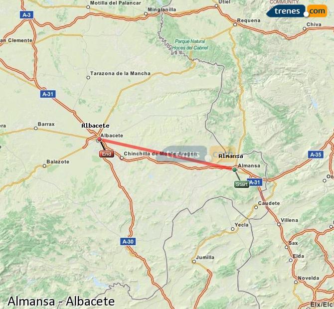 Ampliar mapa Comboios Almansa Albacete