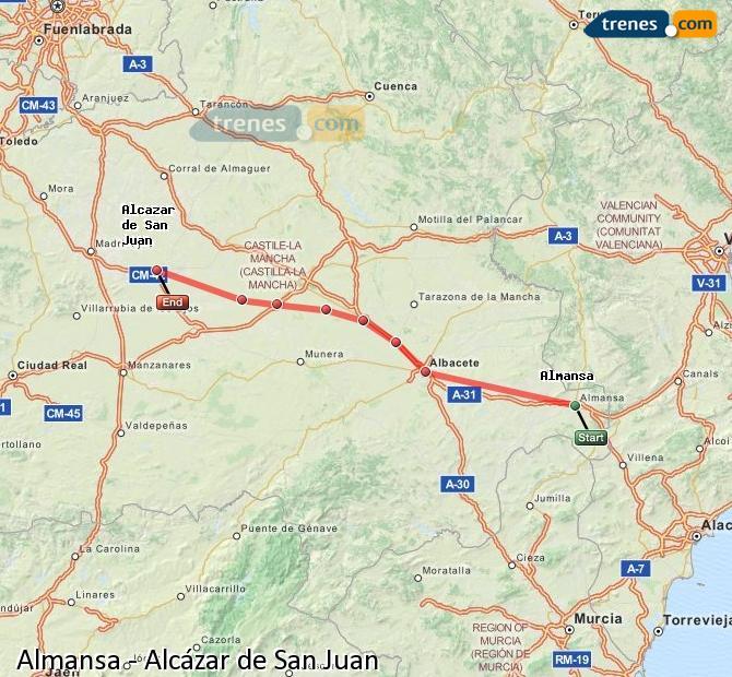Ingrandisci la mappa Treni Almansa Alcázar de San Juan