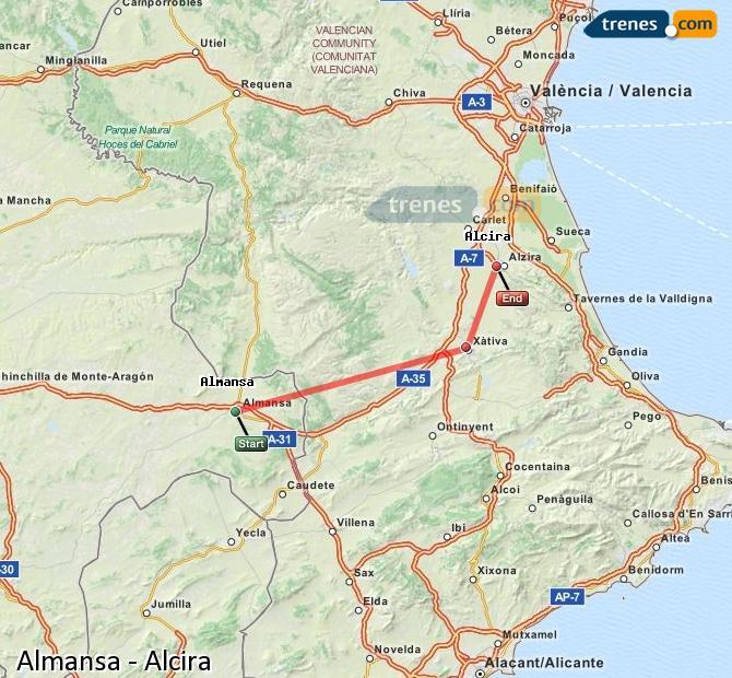 Ingrandisci la mappa Treni Almansa Alcira