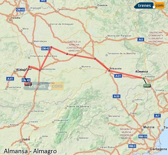 Ampliar mapa Trenes Almansa Almagro