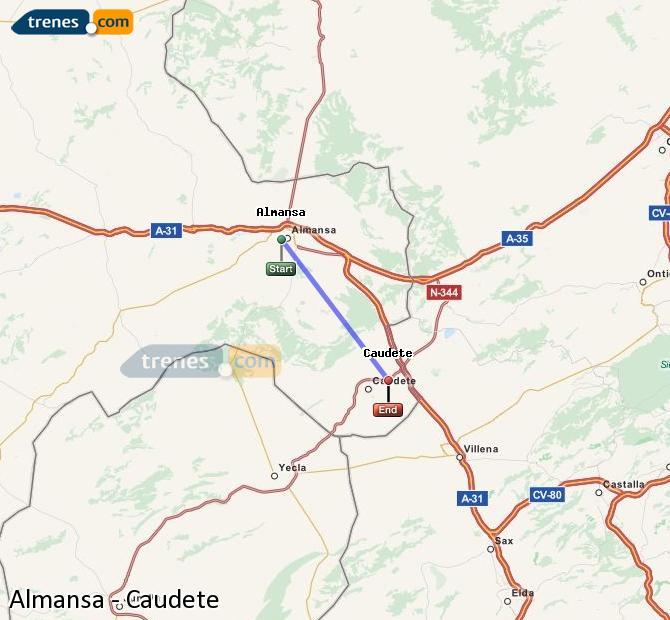 Ingrandisci la mappa Treni Almansa Caudete