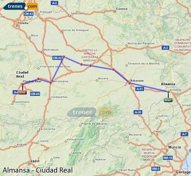 Agrandir la carte Trains Almansa Ciudad Real