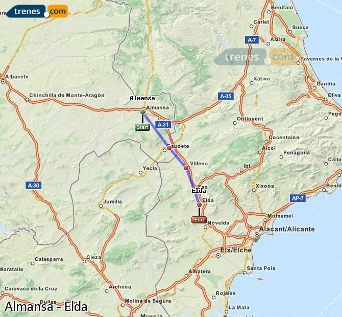 Enlarge map Trains Almansa to Elda