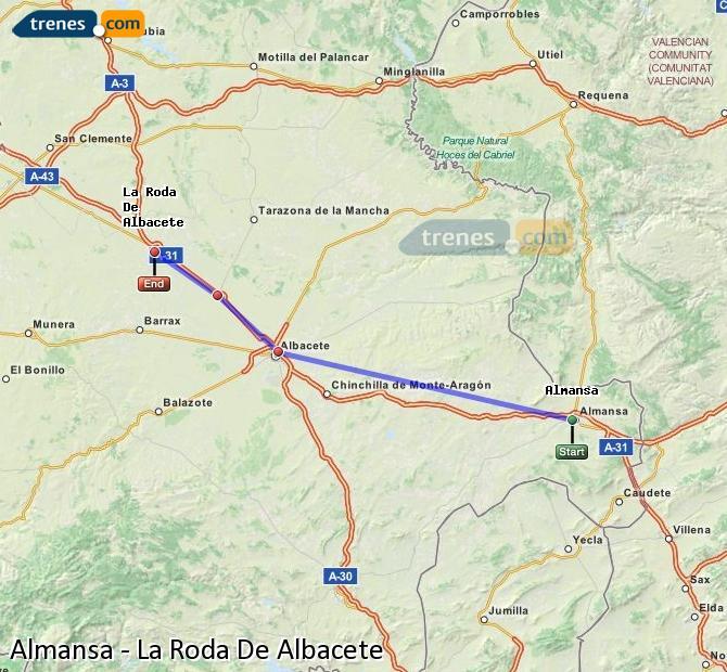 Agrandir la carte Trains Almansa La Roda De Albacete
