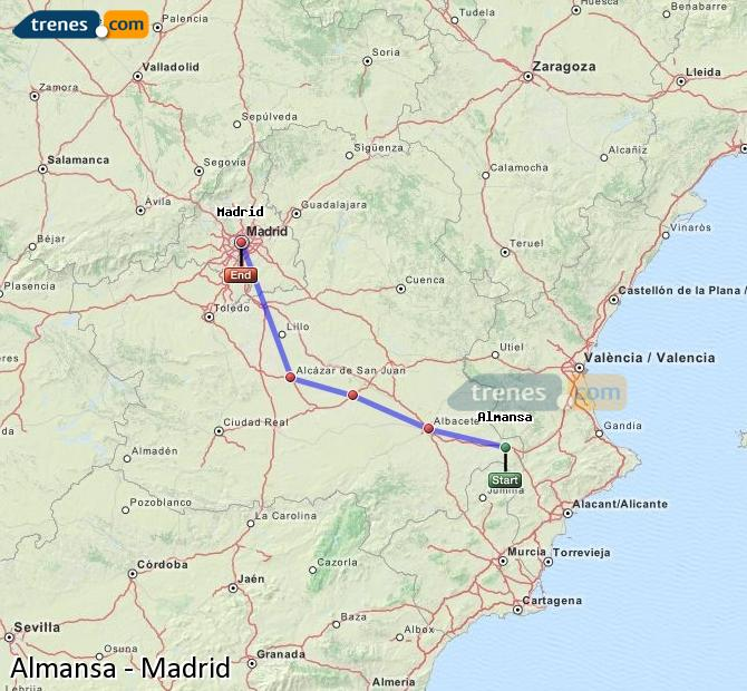 Enlarge map Trains Almansa to Madrid