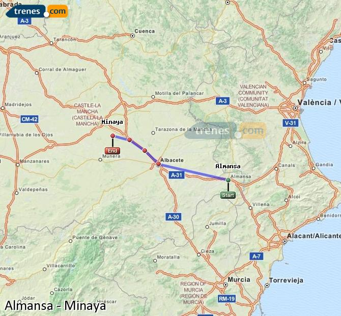 Enlarge map Trains Almansa to Minaya