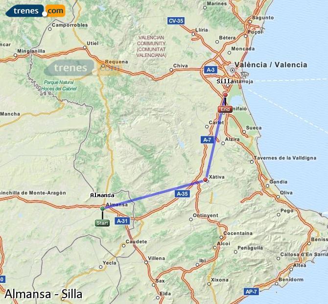 Karte vergrößern Züge Almansa Silla