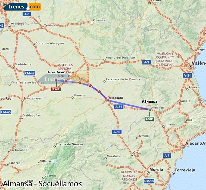 Ingrandisci la mappa Treni Almansa Socuéllamos