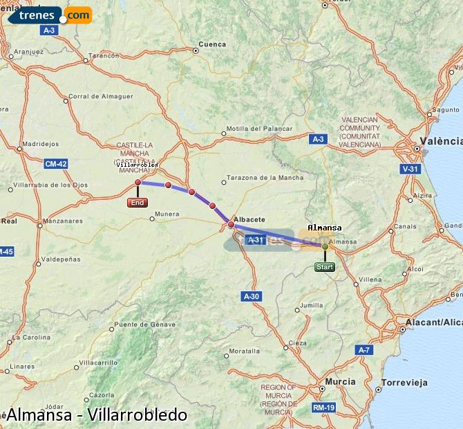Karte vergrößern Züge Almansa Villarrobledo