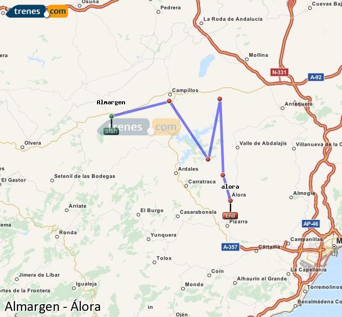 Ampliar mapa Trenes Almargen Álora