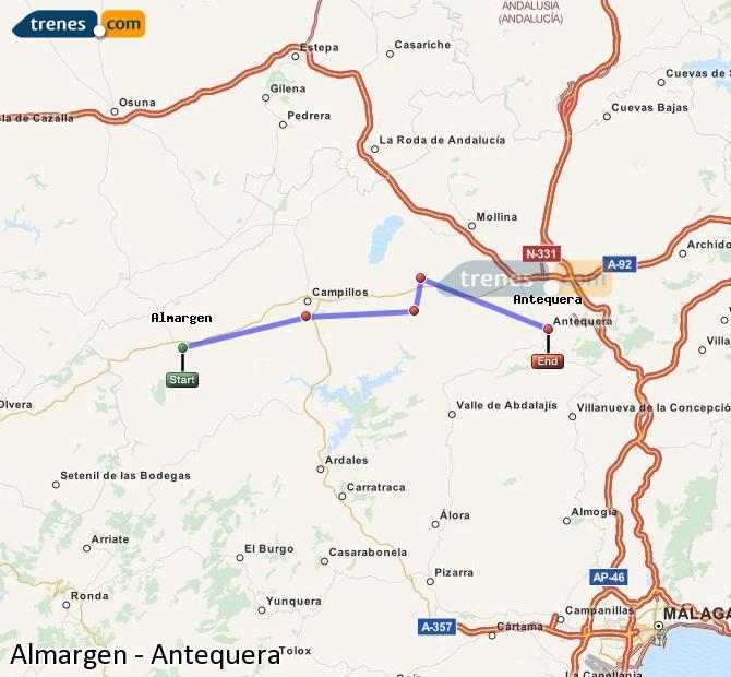 Agrandir la carte Trains Almargen Antequera