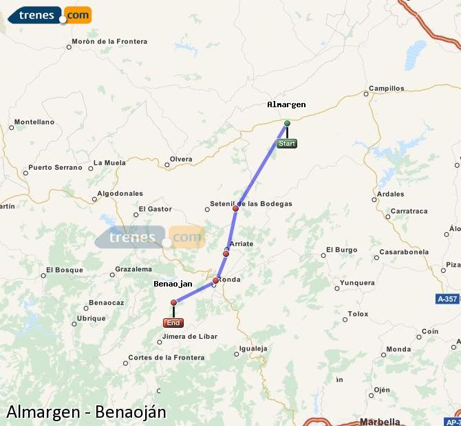 Agrandir la carte Trains Almargen Benaoján