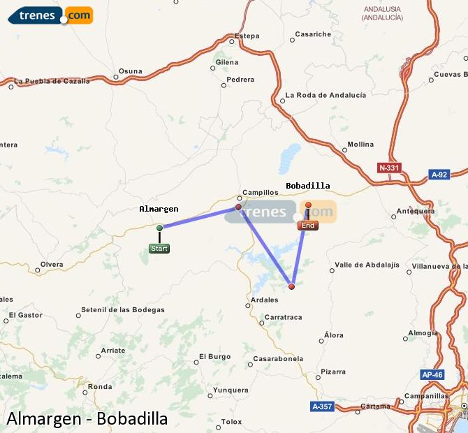 Agrandir la carte Trains Almargen Bobadilla