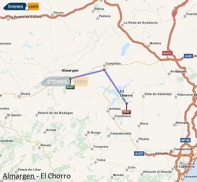 Enlarge map Trains Almargen to El Chorro