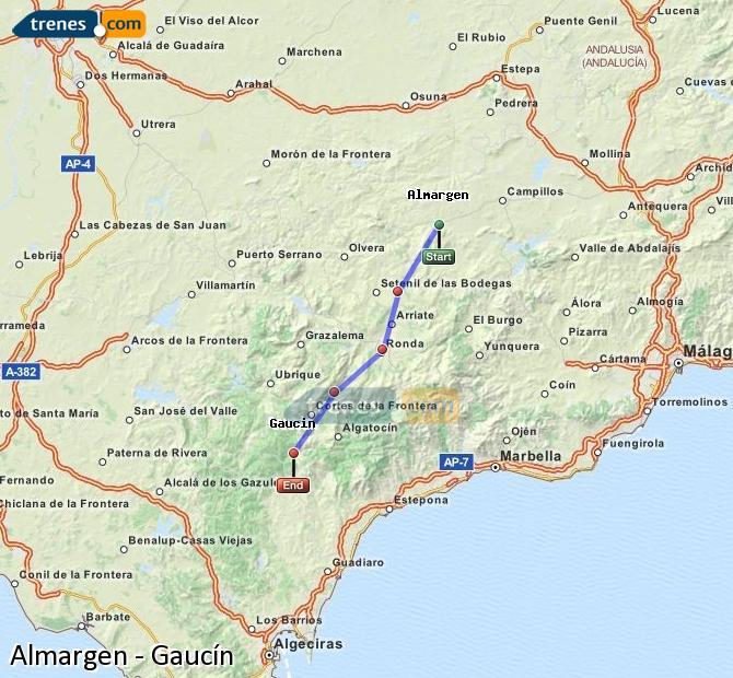 Ampliar mapa Trenes Almargen Gaucín