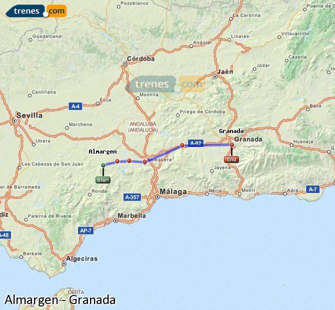 Ampliar mapa Trenes Almargen Granada