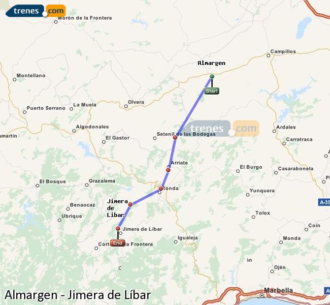 Agrandir la carte Trains Almargen Jimera de Líbar