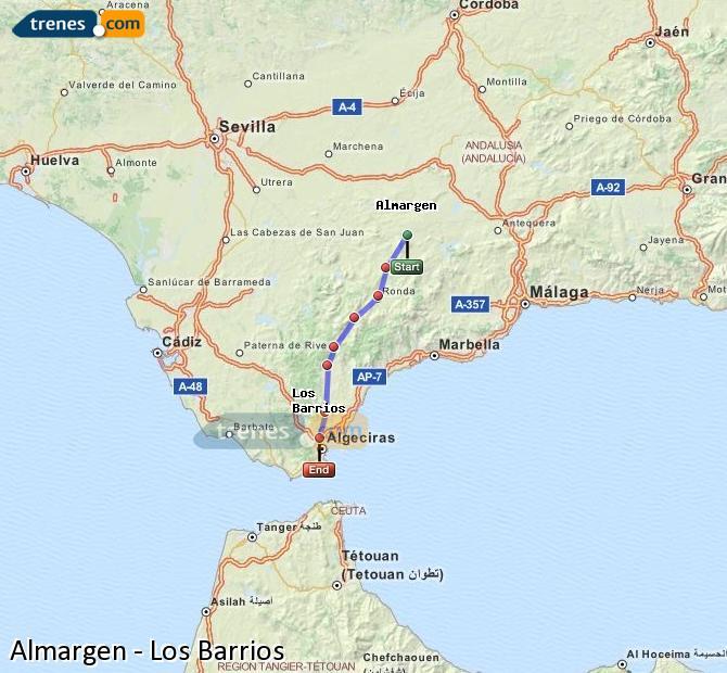 Karte vergrößern Züge Almargen Los Barrios
