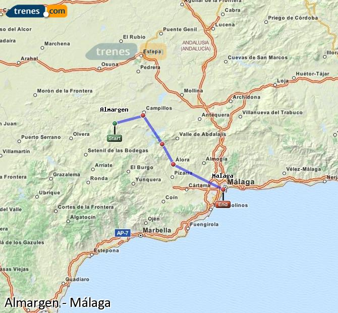 Enlarge map Trains Almargen to Malaga