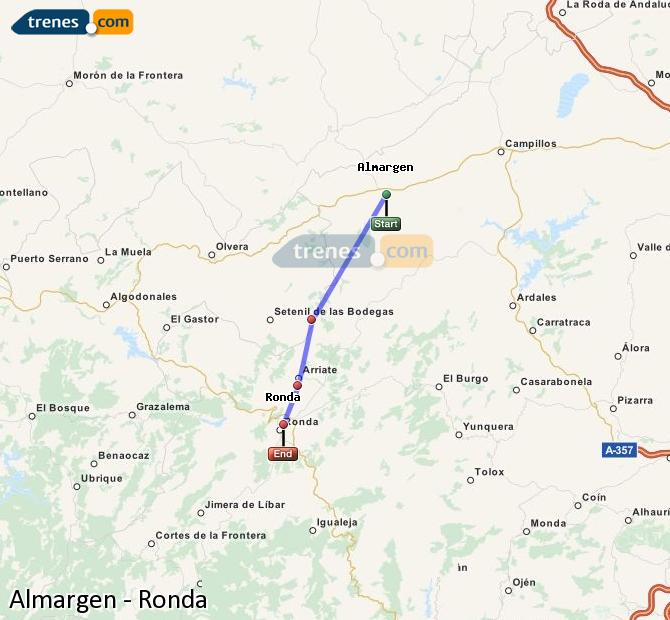 Enlarge map Trains Almargen to Ronda