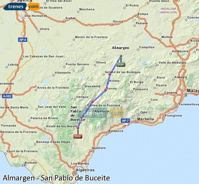 Agrandir la carte Trains Almargen San Pablo de Buceite