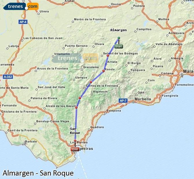 Ampliar mapa Trenes Almargen San Roque