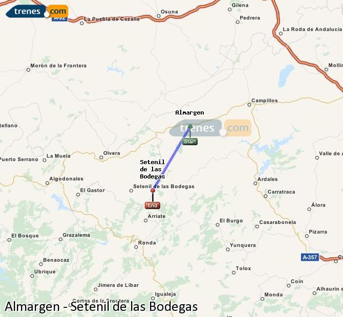 Ampliar mapa Trenes Almargen Setenil de las Bodegas