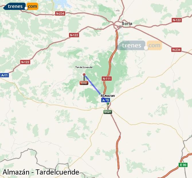 Enlarge map Trains Almazán to Tardelcuende