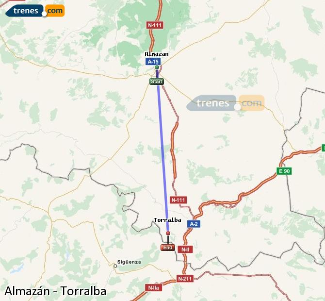 Enlarge map Trains Almazán to Torralba