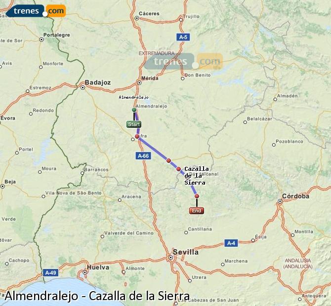 Enlarge map Trains Almendralejo to Cazalla de la Sierra