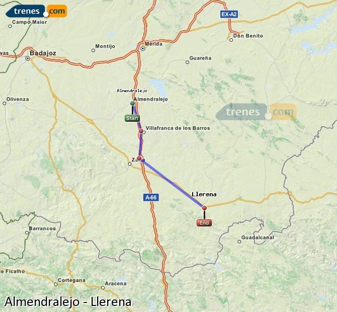 Ingrandisci la mappa Treni Almendralejo Llerena
