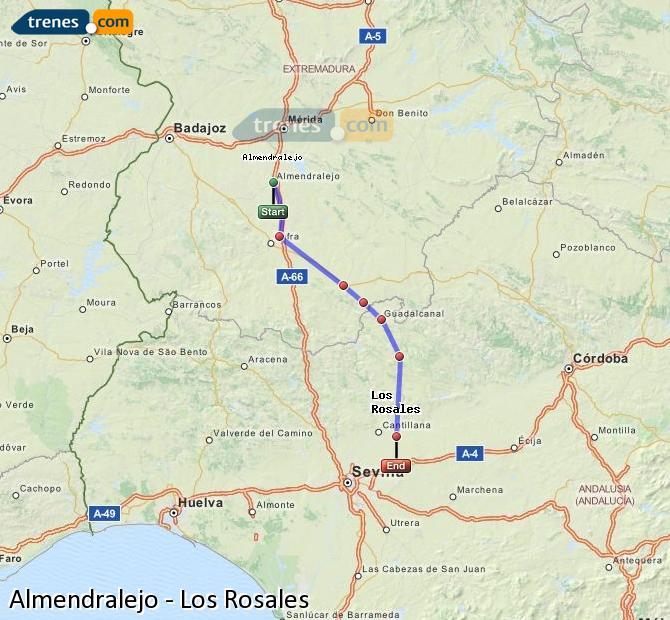 Enlarge map Trains Almendralejo to Los Rosales