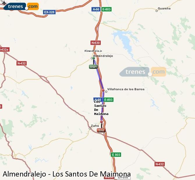 Enlarge map Trains Almendralejo to Los Santos De Maimona