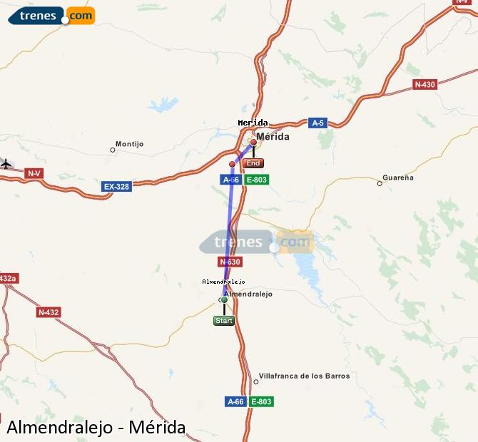 Agrandir la carte Trains Almendralejo Mérida