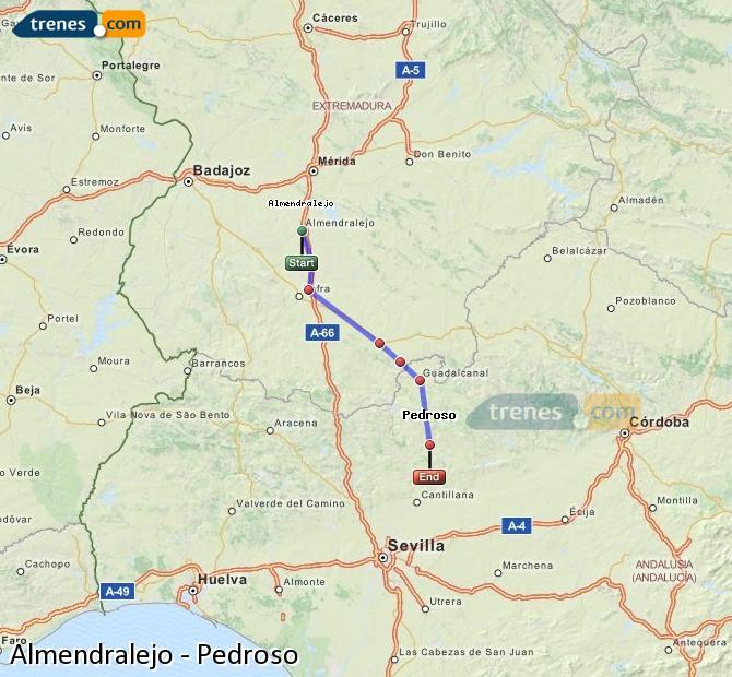 Enlarge map Trains Almendralejo to Pedroso