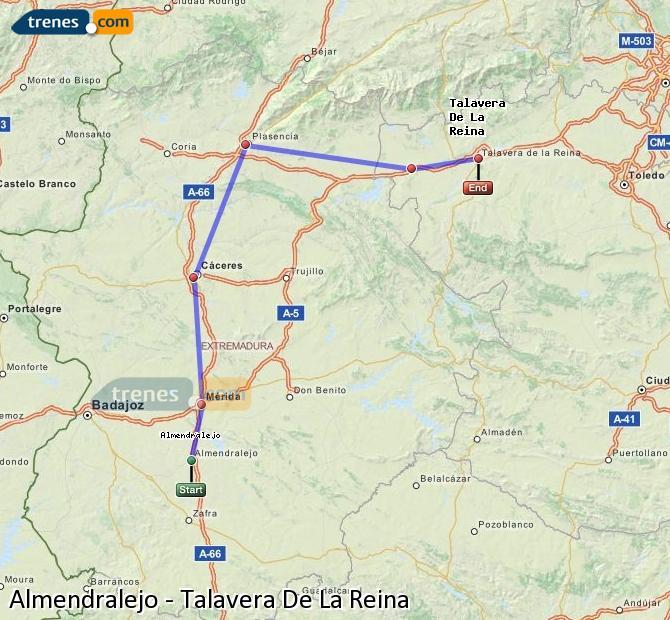 Ampliar mapa Comboios Almendralejo Talavera De La Reina