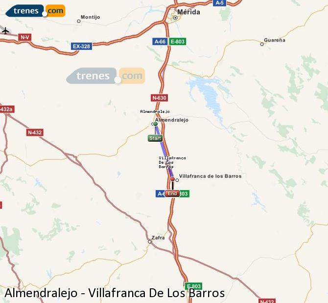 Agrandir la carte Trains Almendralejo Villafranca De Los Barros