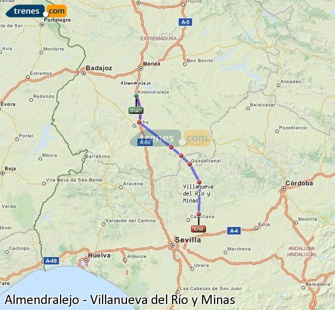 Enlarge map Trains Almendralejo to Villanueva del Río y Minas