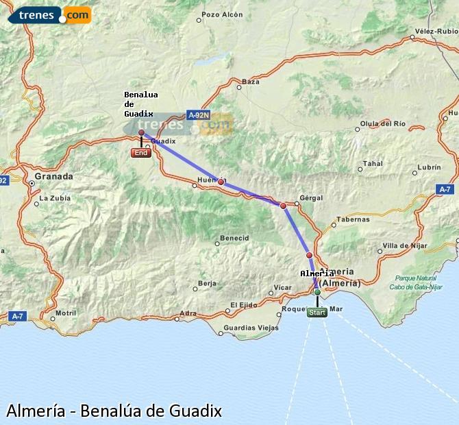 Agrandir la carte Trains Almería Benalúa de Guadix