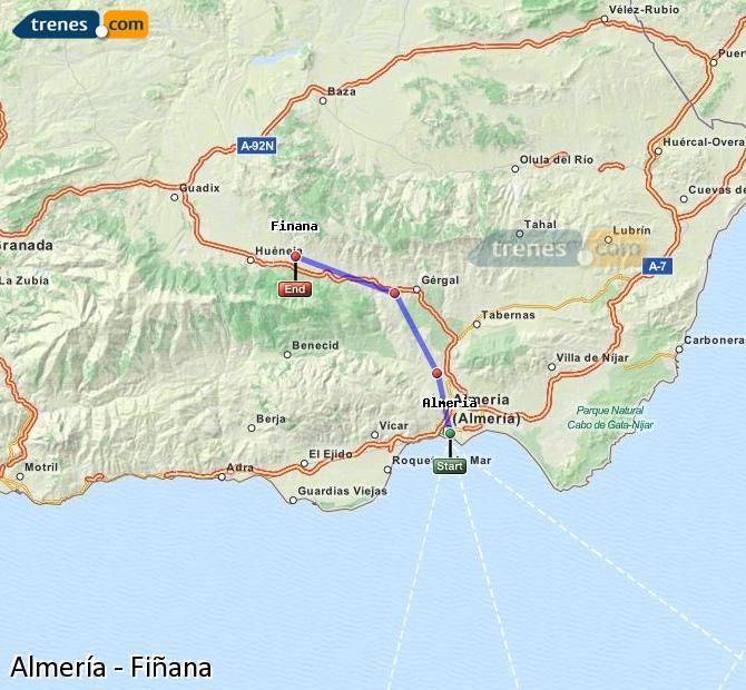 Karte vergrößern Züge Almería Fiñana