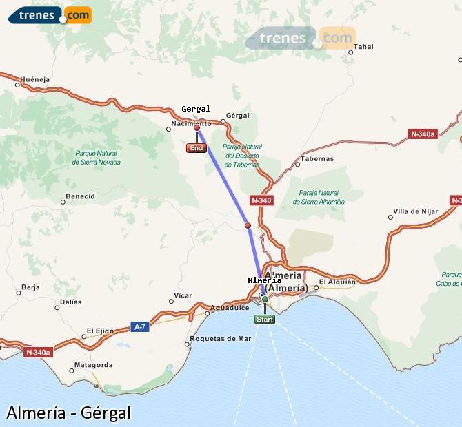 Enlarge map Trains Almeria to Gérgal
