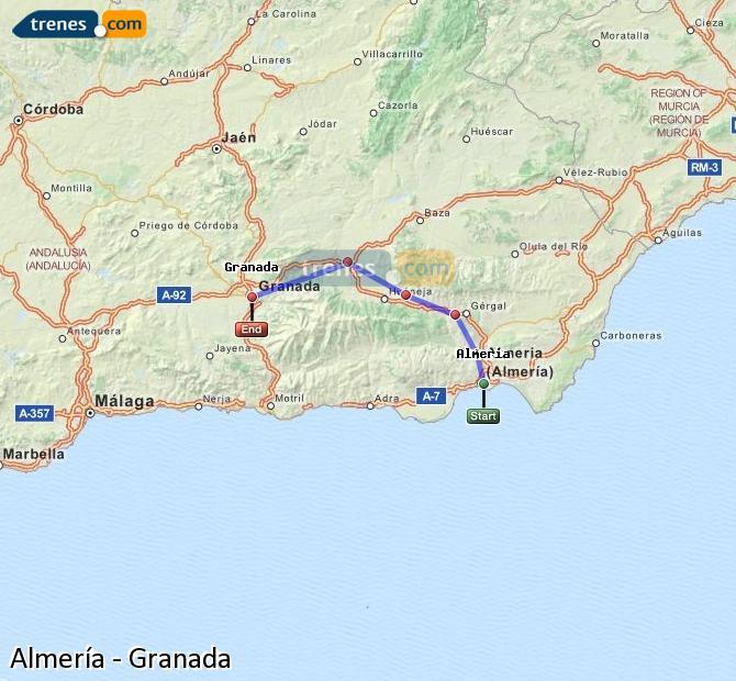 Karte vergrößern Züge Almería Granada