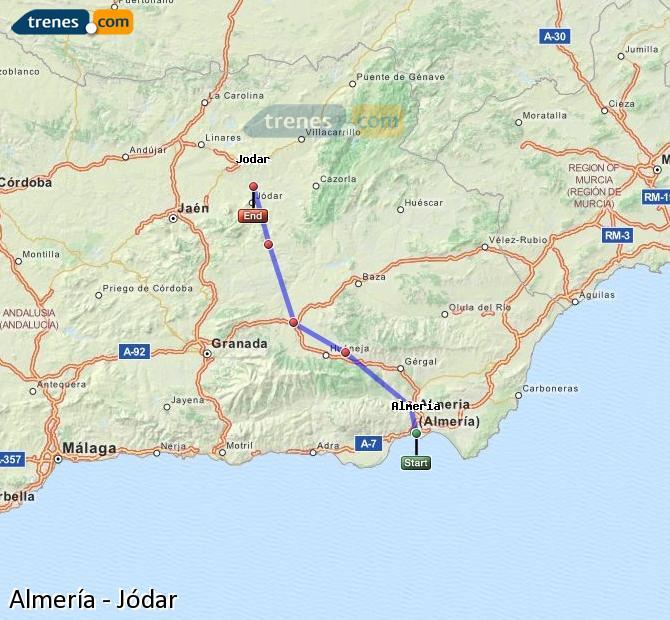 Agrandir la carte Trains Almería Jódar