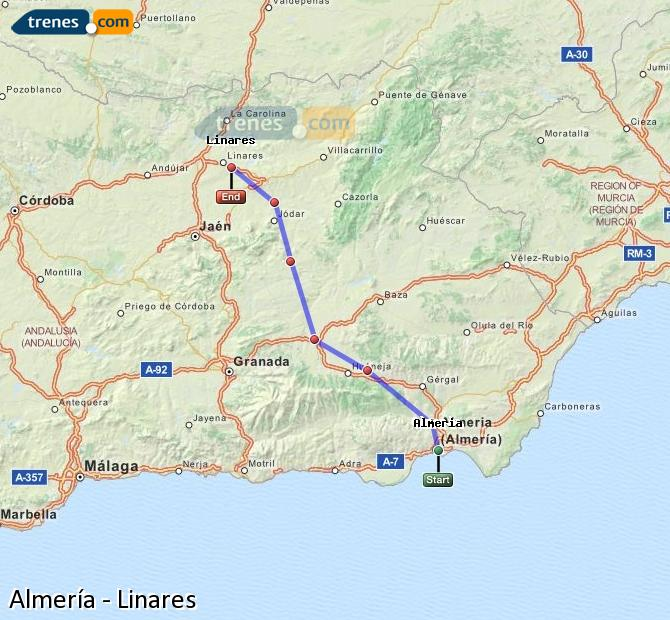 Enlarge map Trains Almeria to Linares