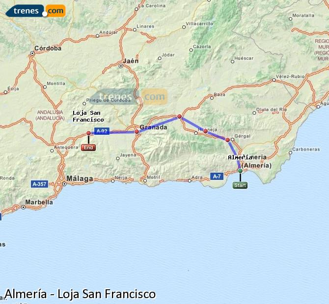 Enlarge map Trains Almeria to Loja San Francisco