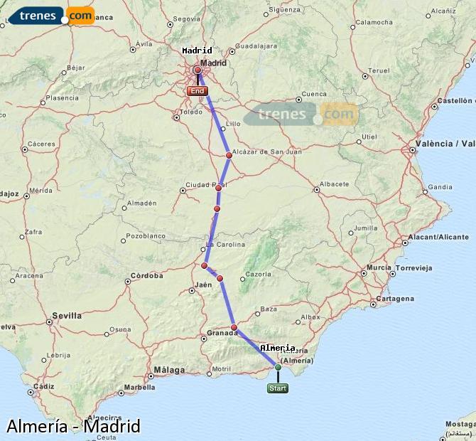 Ampliar mapa Trenes Almería Madrid